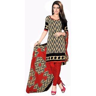 Manvaa Beige Printed Crepe Chudidar Dress Material