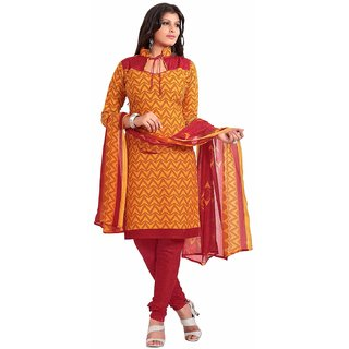 Manvaa Yellow Printed Cotton Salwar Suit Dress Material