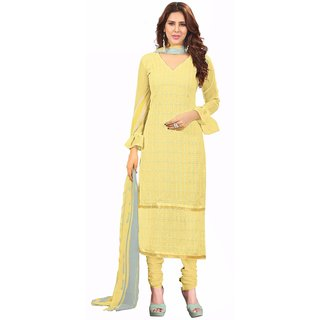 Manvaa Yellow Embroidered Georgette Straight Dress Material