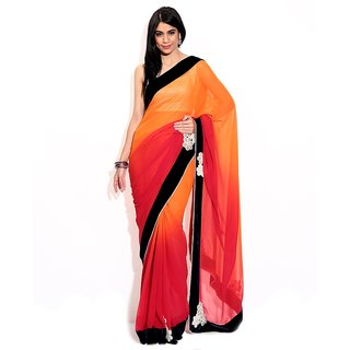 Neha Creation Fashions Red Semi Chiffon Saree
