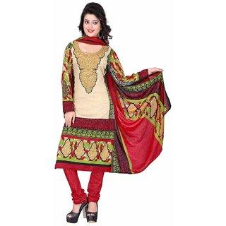 Manvaa Beige Printed Crepe Salwar Suit Dress Material