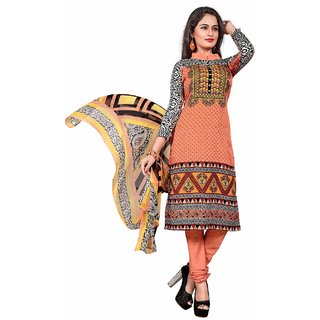 Manvaa Peach Printed Crepe Straight Dress Material