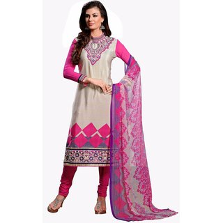 Manvaa Beige Embroidered French Crepe Straight Dress Material