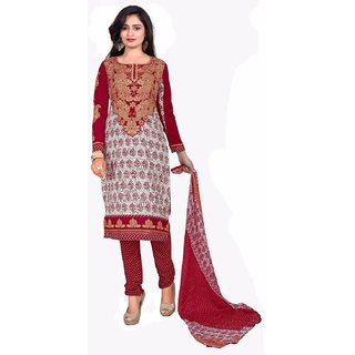 Manvaa Red Printed Crepe Salwar Suit Dress Material