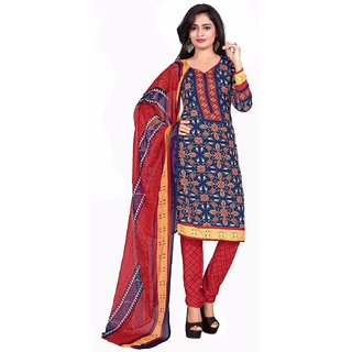 Manvaa Blue Printed Crepe Salwar Suit Dress Material