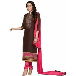 Manvaa Brown Embroidered Cotton Straight Dress Material