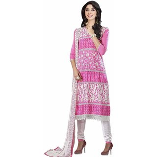 Manvaa Pink Embroidered Cotton Salwar Suit Dress Material