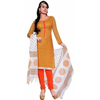 Manvaa Yellow Printed Chanderi Straight Dress Material