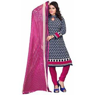 Manvaa Blue Printed Crepe Salwar Suit Dress Material