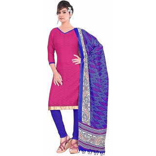 Manvaa Pink Printed Cotton Straight Dress Material