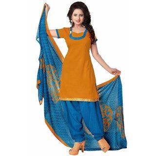 Manvaa Yellow Printed Cotton Patiyala Dress Material