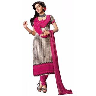 Manvaa Cream Printed Crepe Salwar Suit Dress Material