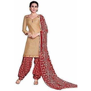 Manvaa Beige Printed Cotton Patiyala Dress Material