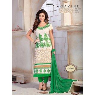 Manvaa Cream Embroidered Chanderi Cotton Chudidar Dress Material