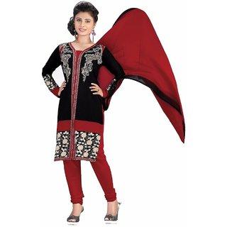 Manvaa Maroon Printed Crepe Straight Dress Material