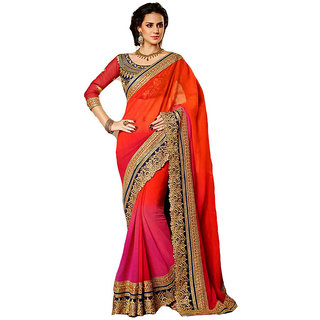 Fabplus Orange Georgette Embroidered Saree With Blouse
