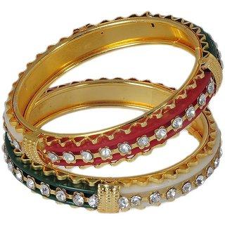 Multicolour American Diamond Studded Bangle Set For Womens