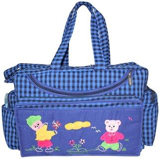 Tumble Check Print Baby Diaper Bag  Blue