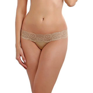 Lace Thong In Beige  (PN0041N19)