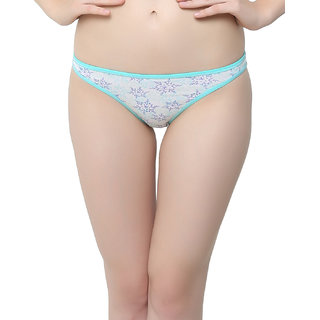 Floral Printed Cotton Panty In Blue  (PN0308P03)