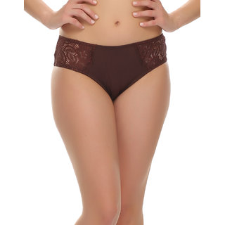 Lacy Lycra Bikini Brief In Brown  (PN0348Q06)