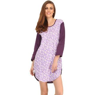 Cotton Comfy Nightdress In Dark Purple  (NS0557P15)