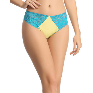 Yellow Lacy Low Waist Thongs  (PN0402P02)