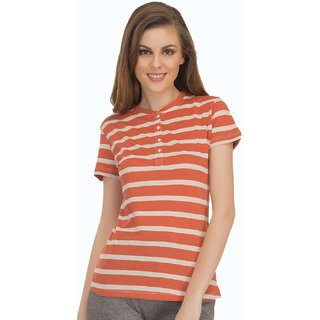 Cotton Comfy Striped T-Shirt In Orange  (LT0103P16)