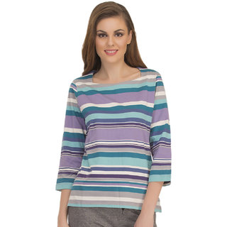 Colourful Stripe T-Shirt With Square Neckline  (LT0104P03)