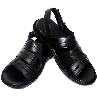 Adler Mens Black Genuine Leather Classic Sandals