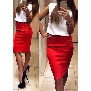 White n Red Skirt Top