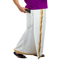 Prakasam Cotton Mens Pocket Velcro Dhoti Gold Jaro Boarder Single Dhoti