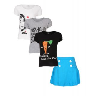 Gkidz Girls Pack Of 3 Style Tshirts And Skirt Combo