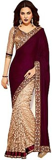 Anshu Fashion Embriodered Handloom Velvet Sari
