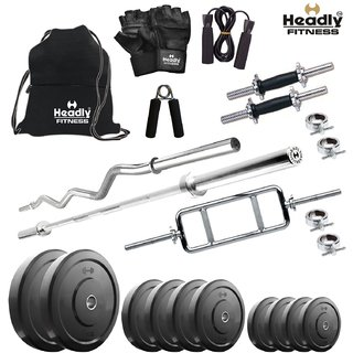 Headly 32 Kg Home Gym + 14 Dumbbells + 3 Rods + Gym Backpack + Accessories