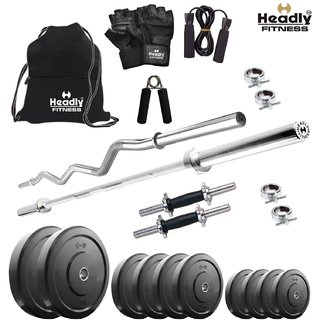 Headly 32 Kg Home Gym + 14 Dumbbells + 2 Rods + Gym Backpack + Accessories