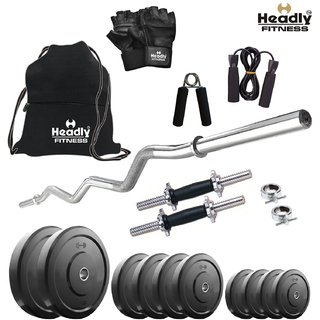 Headly 32 Kg Home Gym + 14 Dumbbells +Curl Rod + Gym Backpack + Accessories