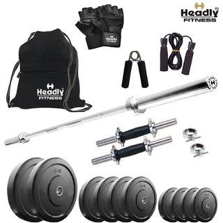 Headly 30 Kg Home Gym + 4 Feet Plain Rod (Shoulder/Bicep) + 14 Dumbbells + Gym Backpack + Accessories