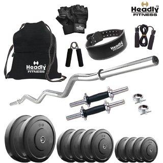 Headly 38 Kg Home Gym + 14 Dumbbells + Curlrods + Gym Backpack + Gym Belt + Accessories