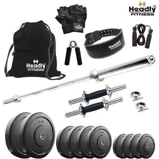 Headly 32 Kg Home Gym + 4 Feet Plain Rod (Shoulder/Bicep) + 14 Dumbbells + Gym Backpack + Gym Belt + Accessories