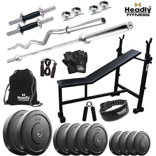 Headly 38 Kg Home Gym + 14 Dumbbells +3 In 1 (I/D/F)Bench + 2 Rods +Gym Belt + Gym Backpack + Accessories