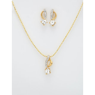 Infinity Twining Gold Plated Pendant With Earring [Chain No Incl.]