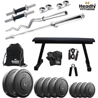 Headly 46 Kg Home Gym + 14 Dumbbells + 2 Rods + Flat Bench + Gym Backpack + Accessories