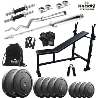 Headly 65 Kg Home Gym + 14 Dumbbells + 2 Rods + 3 In 1 (I/D/F) Bench+ Gym Backpack + Accessories