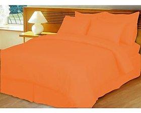 Just Linen Premium Self Design Orange Flat Sheet - 1 cm Stripe [Kitchen & Home]