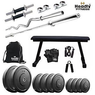 Headly 72 Kg Home Gym + 14 Dumbbells + 2 Rods + Flat Bench+ Gym Backpack + Accessories