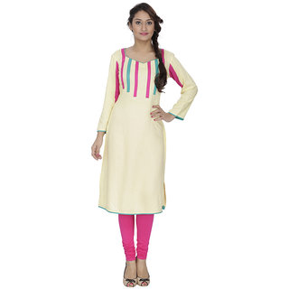 LeeZaro Yellow Cotton Kurti for Women