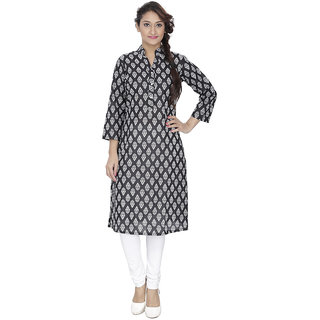 LeeZaro Black Printed Cotton Kurti for Women