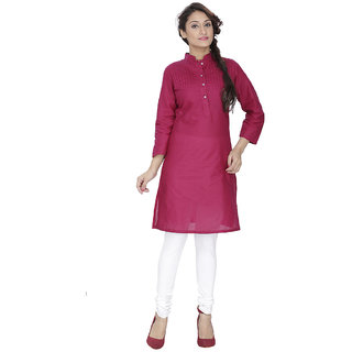 LeeZaro Solid Pink Cotton Kurti for Women