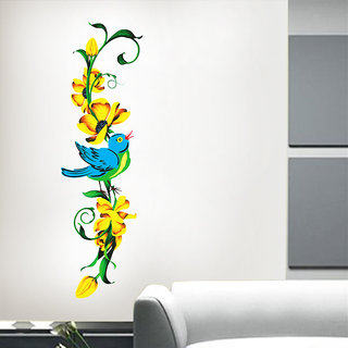 Vertical Floral Design with Bird wall stickers @ New Way Decals (4601)